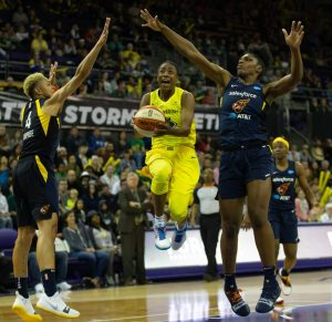 Jewell Loyd splits the defense to score. Neil Enns/Storm photos.
