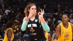 Amanda Zahui B signals after making one of her seven three-point shots on the night. NBAE/Getty Images photo.