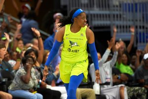 Arike Ogunbowale #24 of Dallas Wings reacts to a play during the game against the Minnesota Lynx on June 30, 2019 at the College Park Center in Arlington, Texas. Photo by Cooper Neill/NBAE via Getty Images.