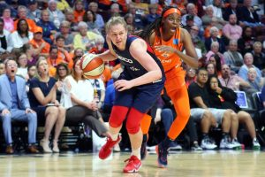 Emma Meesseman drives with the ball. NBAE/Getty Images photo.