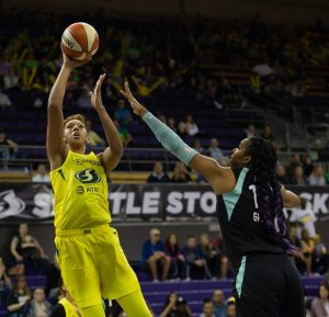 Mercedes Russell elevates for two of her career-high 19 points on the day. Neil Enns/Storm photos.