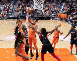 Alyssa Thomas rises above the Washington defense to score. Chris Poss photo.