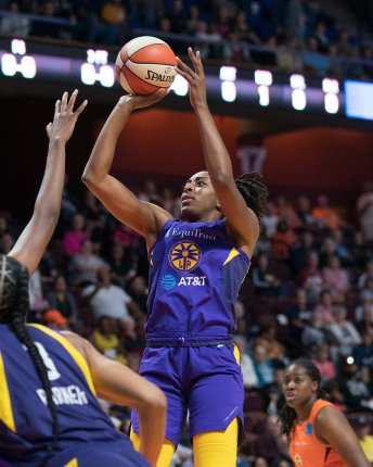 Los Angeles Sparks forward Nneka Ogwumike (30) shoots during the WNBA Semi-Finals between the Los Angeles Sparks and the Connecticut Sun at Mohegan Sun Arena, Uncasville, Connecticut, USA on September 17, 2019. Photo Credit: Chris Poss
