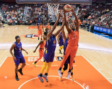 Connecticut Sun center Jonquel Jones (35) grabs a rebound during the WNBA Semi-Finals between the Los Angeles Sparks and the Connecticut Sun at Mohegan Sun Arena, Uncasville, Connecticut, USA on September 17, 2019. Photo Credit: Chris Poss