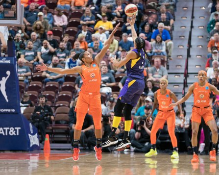 Los Angeles Sparks forward Candace Parker (3) shoots over Connecticut Sun forward Alyssa Thomas (25) during the WNBA Semi-Finals between the Los Angeles Sparks and the Connecticut Sun at Mohegan Sun Arena, Uncasville, Connecticut, USA on September 19, 2019. Photo Credit: Chris Poss