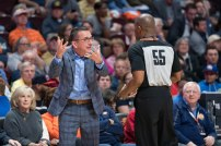 Connecticut Sun Head Coach Curt Miller has a discussion with an official during the WNBA Semi-Finals between the Los Angeles Sparks and the Connecticut Sun at Mohegan Sun Arena, Uncasville, Connecticut, USA on September 19, 2019. Photo Credit: Chris Poss