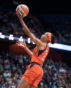 Connecticut Sun guard Jasmine Thomas (5) shoots during the WNBA Semi-Finals between the Los Angeles Sparks and the Connecticut Sun at Mohegan Sun Arena, Uncasville, Connecticut, USA on September 19, 2019. Photo Credit: Chris Poss