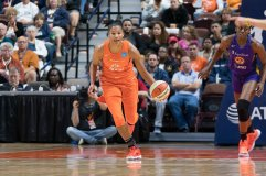 Connecticut Sun forward Alyssa Thomas (25) during the WNBA Semi-Finals between the Los Angeles Sparks and the Connecticut Sun at Mohegan Sun Arena, Uncasville, Connecticut, USA on September 19, 2019. Photo Credit: Chris Poss