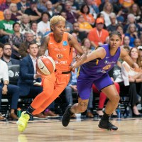 Connecticut Sun guard Courtney Williams (10) during the WNBA Semi-Finals between the Los Angeles Sparks and the Connecticut Sun at Mohegan Sun Arena, Uncasville, Connecticut, USA on September 19, 2019. Photo Credit: Chris Poss
