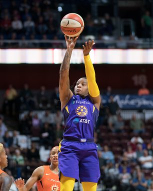 Los Angeles Sparks guard Riquna Williams (2) shoots during the WNBA Semi-Finals between the Los Angeles Sparks and the Connecticut Sun at Mohegan Sun Arena, Uncasville, Connecticut, USA on September 19, 2019. Photo Credit: Chris Poss
