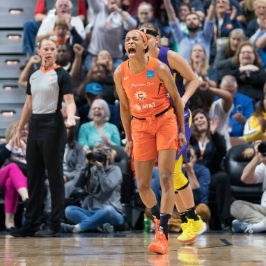 Connecticut Sun guard Jasmine Thomas (5) reacts after making a 3-point shot during the WNBA Semi-Finals between the Los Angeles Sparks and the Connecticut Sun at Mohegan Sun Arena, Uncasville, Connecticut, USA on September 19, 2019. Photo Credit: Chris Poss