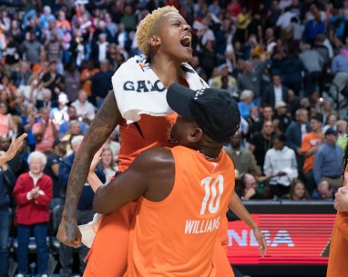 Connecticut Sun guard Courtney Williams (10) and her father Don Williams after the WNBA Semi-Finals between the Los Angeles Sparks and the Connecticut Sun at Mohegan Sun Arena, Uncasville, Connecticut, USA on September 19, 2019. Photo Credit: Chris Poss