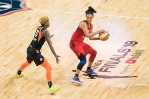 Washington Mystics Kristi Toliver (20) looks to pass around Connecticut Sun guard Courtney Williams (10) during Game 5 of the WNBA finals between the Connecticut Sun and the Washington Mystics at Entertainment and Sports Arena, Washington, DC, USA on October 10, 2019. Photo Credit: Chris Poss