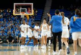 UCLA celebrates their win over Weber State. Maria Noble/WomensHoopsWorld