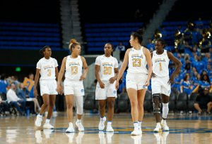 Kiara Jefferson, Jaden Owens, Charisma Osborne, Natalie Chou and Kayla Owens at UCLA vs. Weber State. Maria Noble/WomensHoopsWorld