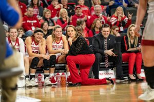 Since taking the helm at South Dakota in 2016, Dawn Plitzuweit has been the Summit League coach of the year twice. Photo courtesy of South Dakota Athletics.