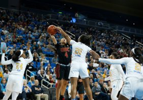 Endyia Rogers is shut down by Charisma Osborne. Maria Noble/WomensHoopsWorld