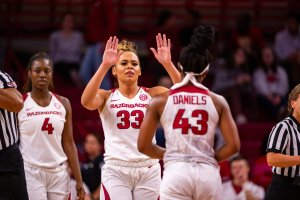 Chelsea Dungee celebrates after a basket. Photo courtesy of Arkansas Athletics.