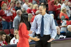 Jim Flanery has a word with in-state head coach neighbor Amy Williams, of Nebraska. Photo courtesy of Creighton Athletics.