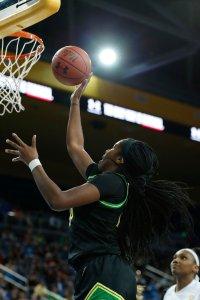 Ruthy Hebard powers up a bucket. Maria Noble/WomensHoopsWorld.