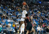 Michaela Onyenwere launches a shot. Maria Noble/WomensHoopsWorld.