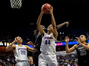 Aubrey Griffin lays up a shot for the Huskies. Dustin Satloff/American Athletic Conference.