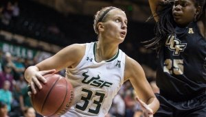 Kitija Laksa was drafted in the first round Friday, but won't report to the Seattle Storm until 2021. Photo courtesy of South Florida Athletics.