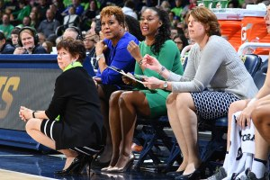 Ivey, Carol Owens, left and Beth Cunningham helped McGraw guide the Irish to a national title in 2018. Matt Cashore-USA TODAY Sports