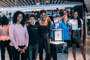 WNBPA executive director Terri Jackson, Layshia Clarendon, Nneka Ogwumike, WNBA commissioner Cathy Engelbert and Chiney Ogwumike after the league and the union announced the new CBA Jan. 14. WNBA photo.