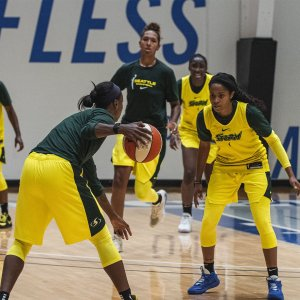 Jordin Canada defense Jewell Loyd during the Storm's practice scrimmage Saturday evening. Photo courtesy of the Seattle Storm.