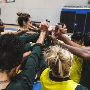 The team huddles to end practice after the second day. Photo courtesy of the Seattle Storm.