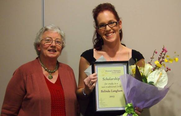 The Network sponsors a woman studying in a non-traditional field at TAFE each year with a $500 scholarship. This is 2013's winner Belinda Langham with then Vice President Gail Johnson