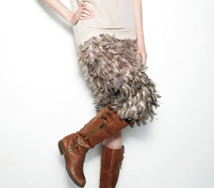 close up feather skirt