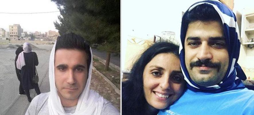 Iranian Men Put On Head Scarves To Support Their Wives