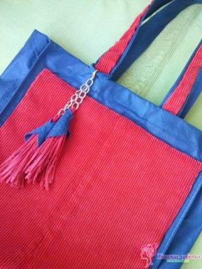 Готовая сумка из вельвета и эко-сумки
