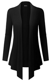 Because I Love You Women's Open Front Drape Hem Lightweight Cardigan