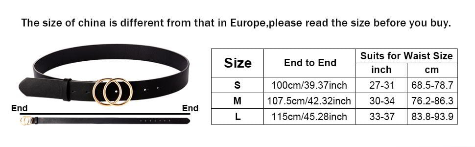 Syhood 2 Pieces Women Leather Belt 4