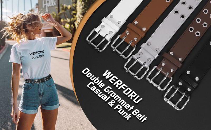 WERFORU Double Grommet Belt for Women