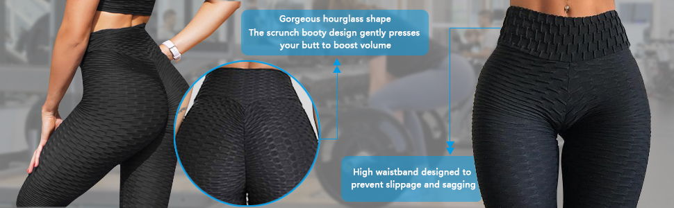 GILLYA Booty Yoga Pants Butt Lift Textured Scrunch Leggings 1