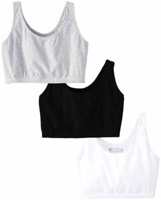 Fruit of the Loom Womens Built Up Tank Style Sports Bra 3 Pack
