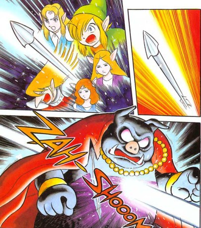 Legend of Zelda a Link to the Past - Shotaro Ishinomori - Death of Ganon. Nintendo Power. VIZ Media, May 2015. Ganon is stabbed with a spear.