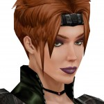 Knights of the Old Republic, Bioware, Lucas Arts, 2003. A short-haired woman with purple lipstick gives a saucy look.