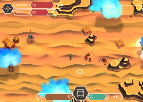 Cloud Chasers, Blindflug Studios, 2015. A cartoon desert with a small person walking around.