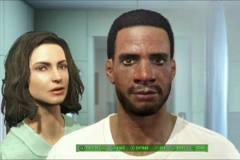 An image of a light-skinned possibly white woman and a dark-skinned Black man staring at the screen. Fallout 4, Bethesda, 2015