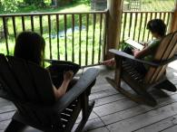 Writing on the porch