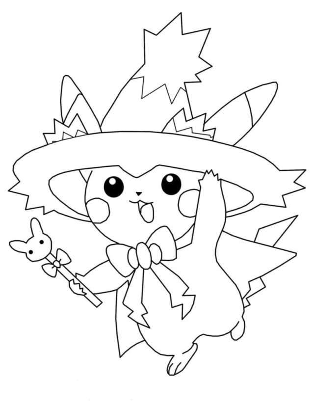 Pikachu Coloring Pages. Print for free in A28 format