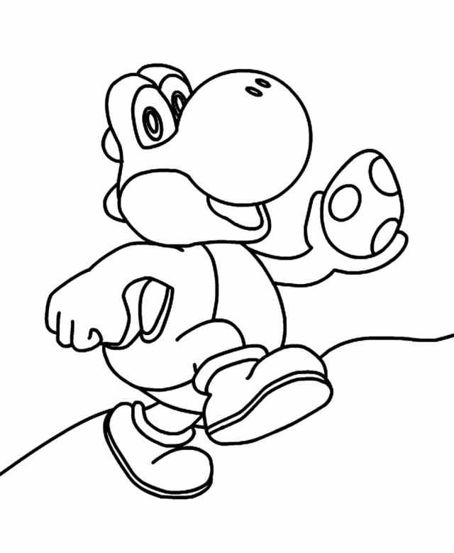 Yoshi Coloring Pages. Print Dinosaur from Mario  WONDER DAY