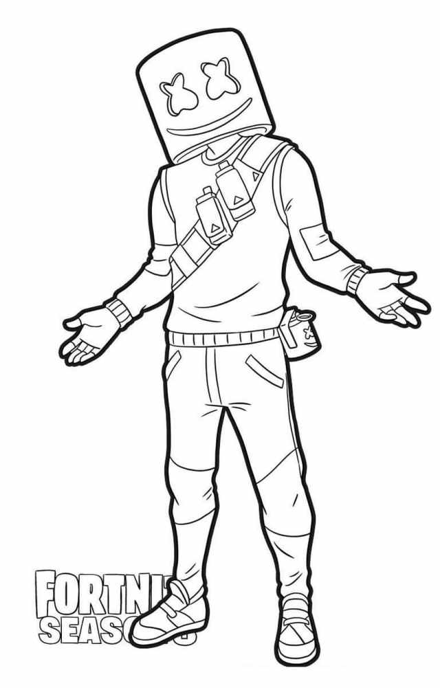 Marshmello Fortnite coloring pages. Print for free  WONDER DAY