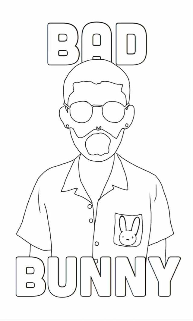Bad Bunny Coloring Pages - Printable Coloring Pages