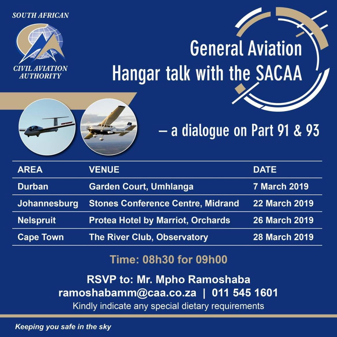 General Aviation Hangar talk with the SACAA – 22 March 2019
